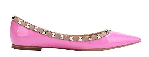 CAMSSOO Women's Rivets Pointy Toe Comfort Flats Low Heel Dress Pumps Shoes Purple Patant Pu AQQz1p