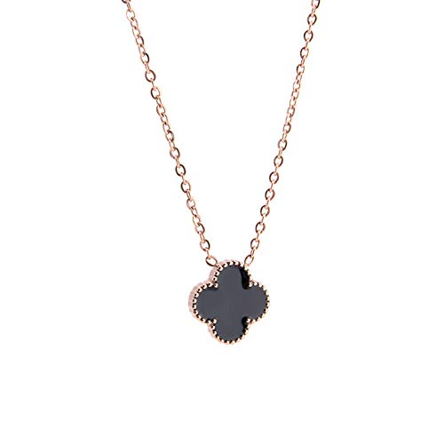 (COCOBAR Jewelry Titanium Steel Rose Gold Chain Clover Pendant Black/Red/White/Brown Life Lucky (Black))