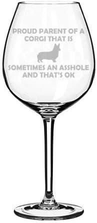 Proud Parent Corgi Funny Stemmed Stemless Wine Glass