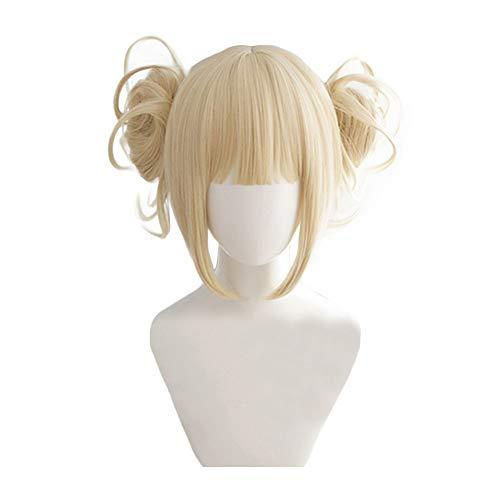 Cross my body Cosplay Wig Xcoser Boku no Hero Academia My Hero Academia Golden Beige Curly Wave Hair for Women (C2 Cross)