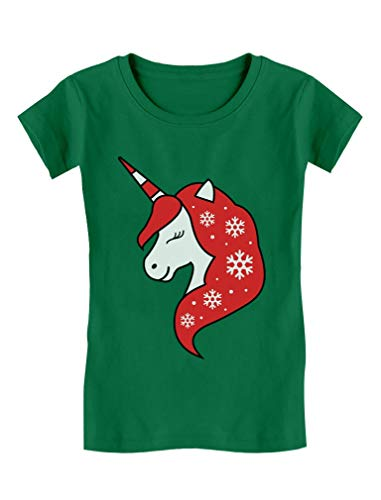 Christmas Unicorn Snowflakes Xmas Cute Outfit Girls' Fitted Kids T-Shirt M (7-8) -