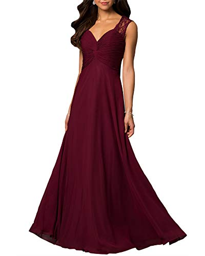 Aox Women Sleeveless Lace Chiffon A Line Maxi Dress Formal Evening Cocktail Bridal Skirt (4XL, Red Wine 9605)