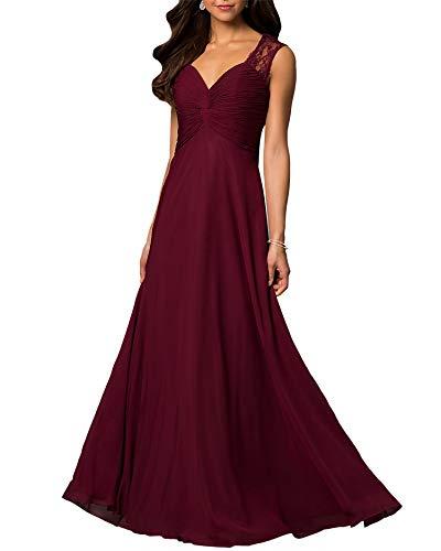 (Aofur Womens V Neck Chiffon Casual Maxi Dress Wedding Evening Gowns Summer Sleeveless A-Line Party Long Skirt (XX-Large, Burgundy))