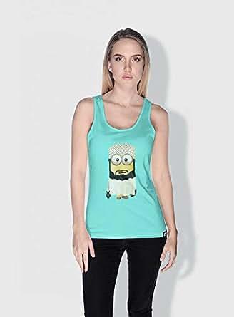 Creo Oman Minions Vshape Neck T-Shirt For Women - Green, M