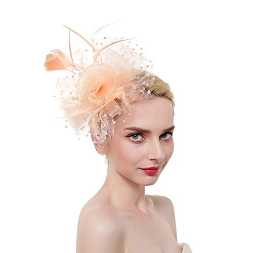 JK Home Fascinators Hat for Women Tea Party Headband Derby Wedding Cocktail Flower Mesh Feathers Charm Champagne]()