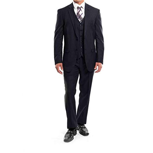 (Mens Navy Blue Pinstripe 3 Piece 2 Button Classic Fit Suit with Matching Vest(48L/42Waist Regular))