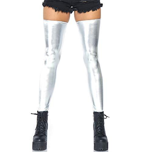 Leg Avenue Women's Hosiery Wet Look Thigh Highs, Silver, Small/Medium]()