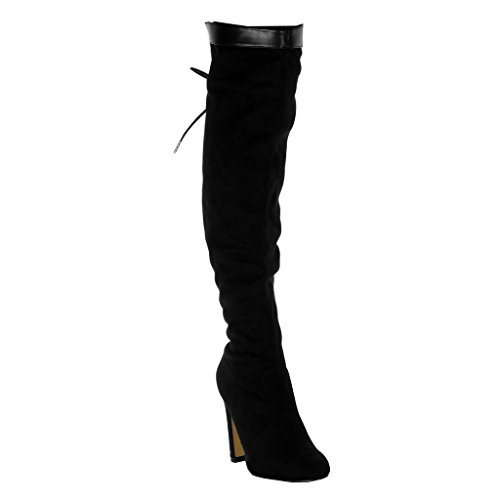Angkorly Zapatillas Moda Botas Altas Botas Flexible Botas Altas Bimaterial Mujer Encaje Tacón Ancho Alto 11 cm Ligeramente Forrada de Piel Negro