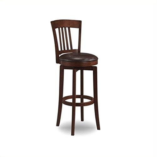 Hillsdale Furniture Canton 45.5-Inch Swivel Bar Stool, Brown Finish with Brown Vinyl Seat