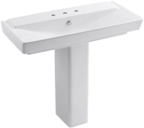 """KOHLER K-5149-8-0 Rêve 39"""" Pedestal Bathroom Sink, White"""