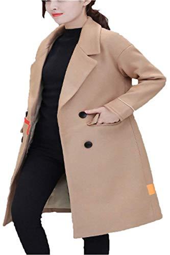 Huixin Femme Parker Printemps Automne Longues Trench Elgante Young Styles Branch Mode Hipster Manteau Unicolore Manches Longues Double Boutonnage avec Poches Coat Outerwear Kahki