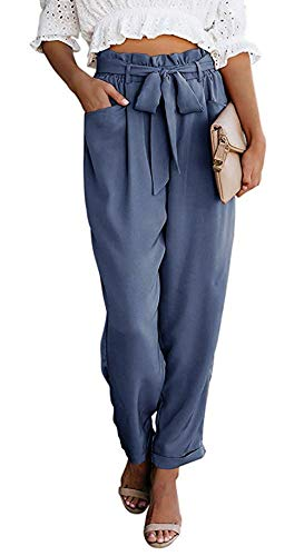 NEWFANGLE Women Paper Bag Pants Elastic High Waist Slim Casual Long Pants Cropped with Pockets,Gray Blue,XL