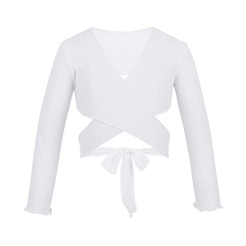 ACSUSS Kids Little Big Girls Mesh Wrap Bolero Long Sleeves Ballet Dance Sweaters Crossover Cardigan Shrug Tops White 5-6 ()
