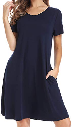 Ezabella Women's Casual Swingy T-Shirt Dress | Loose Fit Scoop Neck Short Sleeve with Pockets (Blue, S)
