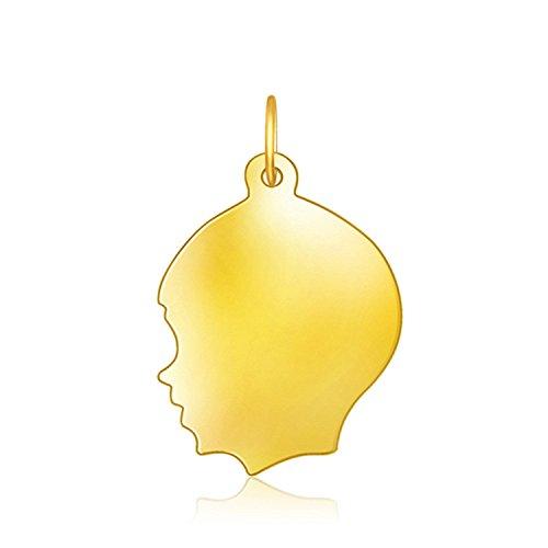 Diamond Boys Head Charm - 14K Yellow Gold Large Boy Head Charm
