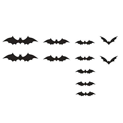 hong Wu Halloween Bat Wall Decals PVC 3D Bats Sticker 3D Bats Window Wall Decals Halloween Decorations Wall Art Stickers Black 1SET -