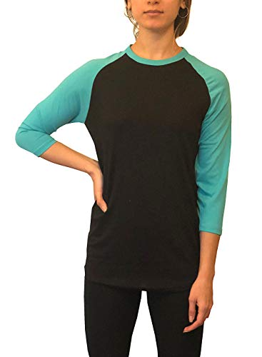 ILTEX Raglan T-Shirt 3/4 Sleeve Athletic Baseball Jersey Unisex (20+ Colors) (Black/Tiffany, 4X-Large) ()