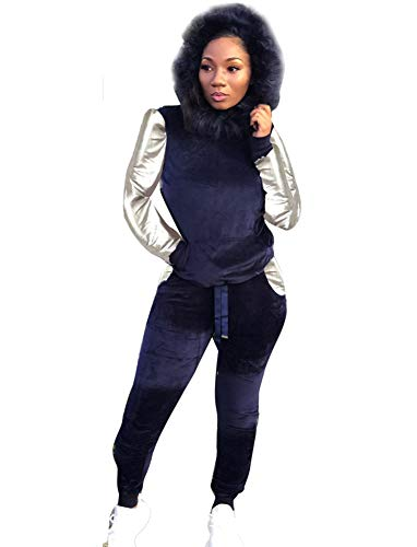 Women's Two Piece Sweatsuits - Stylish Velvet Pullover Hoodies Jogging Suits X-Large Navy