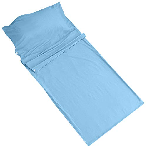Travel Sheets Anti Bed Bug- Comfy Breathable Cotton Polyester Hostel Sleeping Bag Liner Inner Washable Camping Sheets Sleeping Sack (Light Blue) ()
