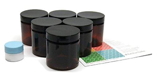 4 oz amber plastic jars - 6