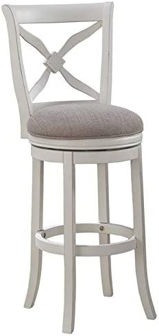 """BOWERY HILL 26"""" Swivel Counter Stool in Distressed Antique White"""