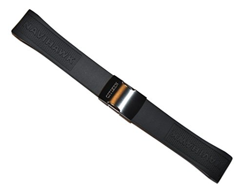Citizen 59-S52806 Original Eco-Drive Navihawk A-T Black Rubber Watch Band Strap fits JY8035-04E JY8035-55E S087881 S088003