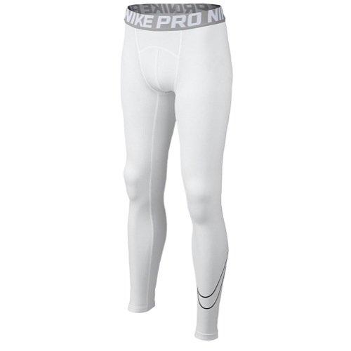 NIKE Kids Boy's Cool HBR Comp Tights (Little Kids/Big Kids) White/Matte Silver/Black Pants LG (14-16 Big Kids)