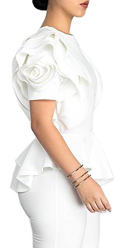 Blouse Ruffle (Blansdi Women Round Neck Ruffle Short Sleeve Peplum Bodycon Blouse Shirts Tops White XLarge, US L)