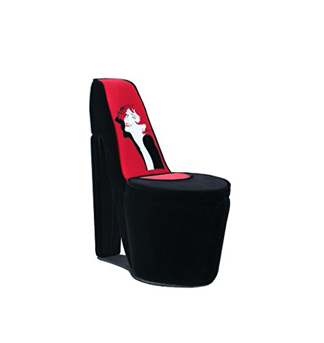 Ore International Storage Chair, 18 , Black Red