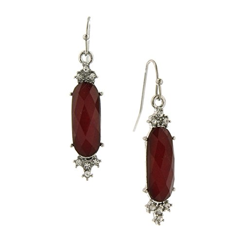 Silver Tone Siam Red and Crystal Faceted Drop Earrings