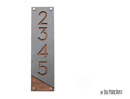 Modern House Numbers, Concrete with Wood - Vertical - Contemporary Home Address -Sign Plaque - Door Number ()