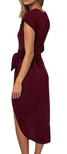 Cromoncent Femmes Bowknot Ourlet Irrgular Enveloppent Haut Vin Robe Crayon Midi Ceinture Taille Rouge