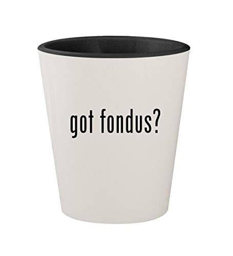 got fondus? - Ceramic White Outer & Black Inner 1.5oz Shot Glass