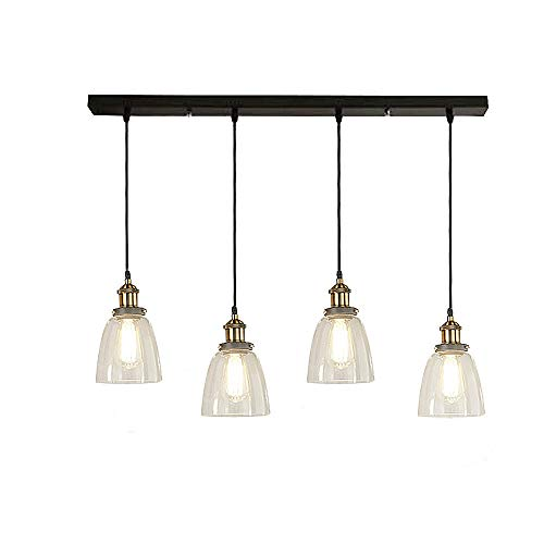 SUSUO Lighting Vintage Country Style 4-Lights Island Chandelier Pendant Lighting Fixture Multi Light Pendant with Glass Bowl Shade