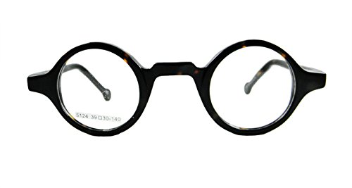 Circleperson Men Women Eyeglass frames Optical spring hinges small round (Dark tortoise, Clear/ W - Frames Tortoise Eyeglass Round
