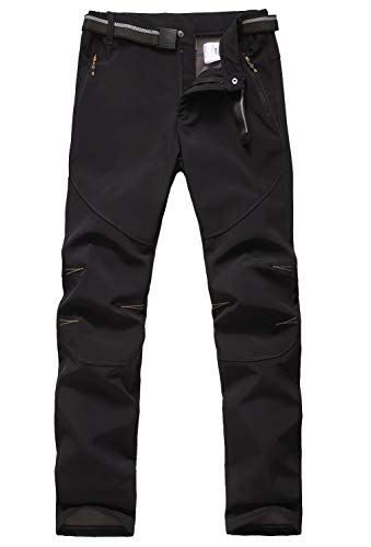JOMLUN Men's Outdoor Waterproof Skiing Climbing Hiking Softshell Warm Fleece Pants (XL, ()