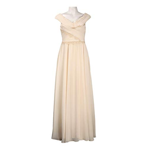 JS Collections Ruched Bertha Neckline A-Line Chiffon Dress, Cream, 16