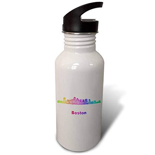 3dRose David Zydd - City Skylines - Rainbow City Skyline of Boston, Massachusetts - Flip Straw 21oz Water Bottle (wb_296667_2) ()