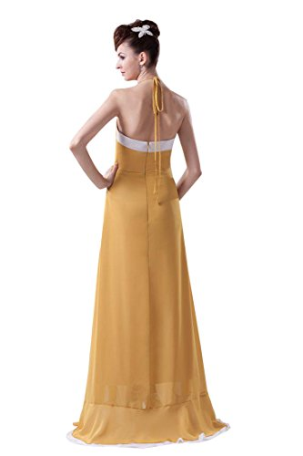 Beauty-Emily Maxi Sleeveless Spaghetti Strap Hollowed-out Christmas Gifts Night Evening Dresses Color Goldenrod,Size US20W by Beauty-Emily (Image #2)