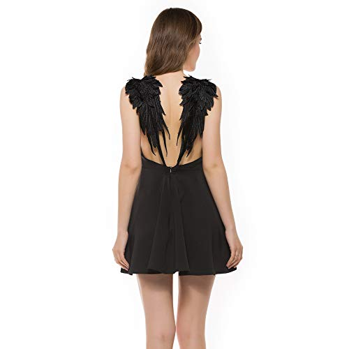 Women Deep V-Neck Black Open Back Mini Skater Cami Angle Wings Evening Dress Wedding Party Cosplay Beach Seaside Small.]()