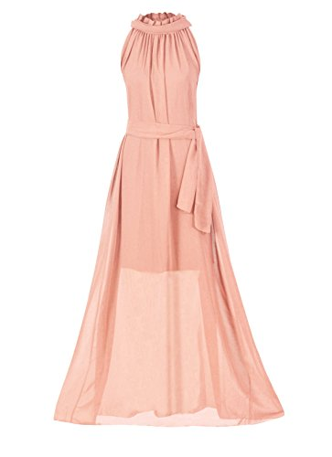 Formal Pink Dress (Howriis Women's Pink Chiffon Sleeveless Long Formal Dress (One Size, Pink))