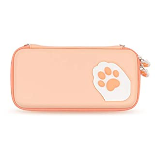 Geekshare Pink Cute Cat Paw Case for Nintendo Switch - Portable Hardshell Slim Travel Carrying Case fit Switch Console & Game Accessories - A Removable Wrist Strap (Orange)