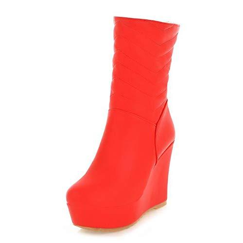 (DETAIWIN Women Fashion High Wedges Boots Platform Round Toe Thick Sole Waterproof Winter Warm Boots)