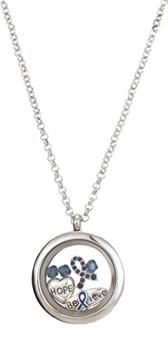 "Lolo Colon Cancer Awareness Locket Necklace on Long 24"" Chain (Dark Blue)"