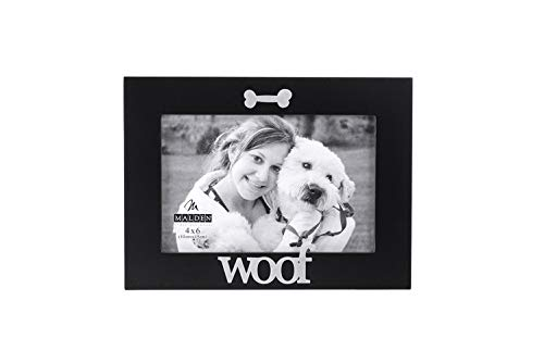 Black Dog Photo - Malden International Designs Black Wood Expression Picture Frame, Woof, 4x6, Black
