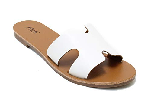 bb923ac159bf5 H2K Womens Flat Greece Slides Open Toe Slip On Sandal Shoes Malibu (11,  White)