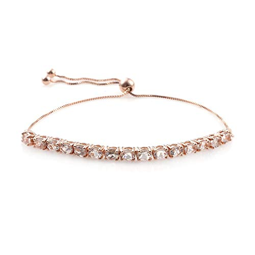 925 Sterling Silver Vermeil Rose Gold Plated Oval Morganite Bolo Bracelet for Women Cttw 1.9 Adjustable