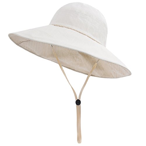 LETHMIK Womens Cotton Boonie Hat,Double-Sided Wear Summer UV Protection Fishing Outdoor Beach Bucket Hat Beige (Bucket Beige)