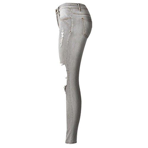 de de UK~6 rue du Jens ajuste de Lave de Femmes Chaude SODIAL Vetements style Jeans taille US~2 de trou Elegant 34 Vente Gris basse aW6qWgxZ5