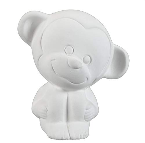 Creative Hobbies Tiny TOT Cute Monkey, Case of 6, 3.5 inch Tall, Unfinished Ceramic Bisque, with How to Paint Your Own Pottery Booklet